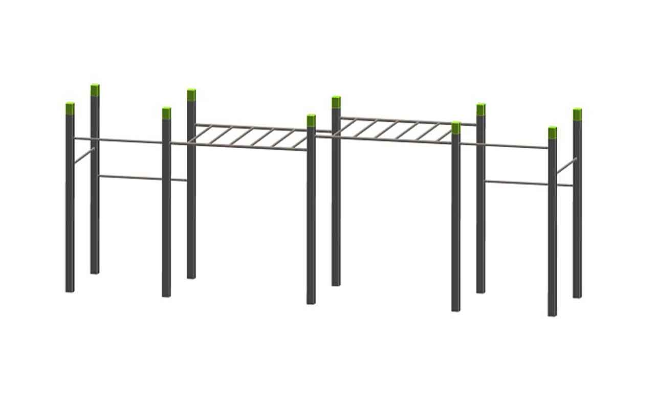 MONKEY BARS 2 LEVEL AND 6 PULL UPS - Palestra all'Aperto
