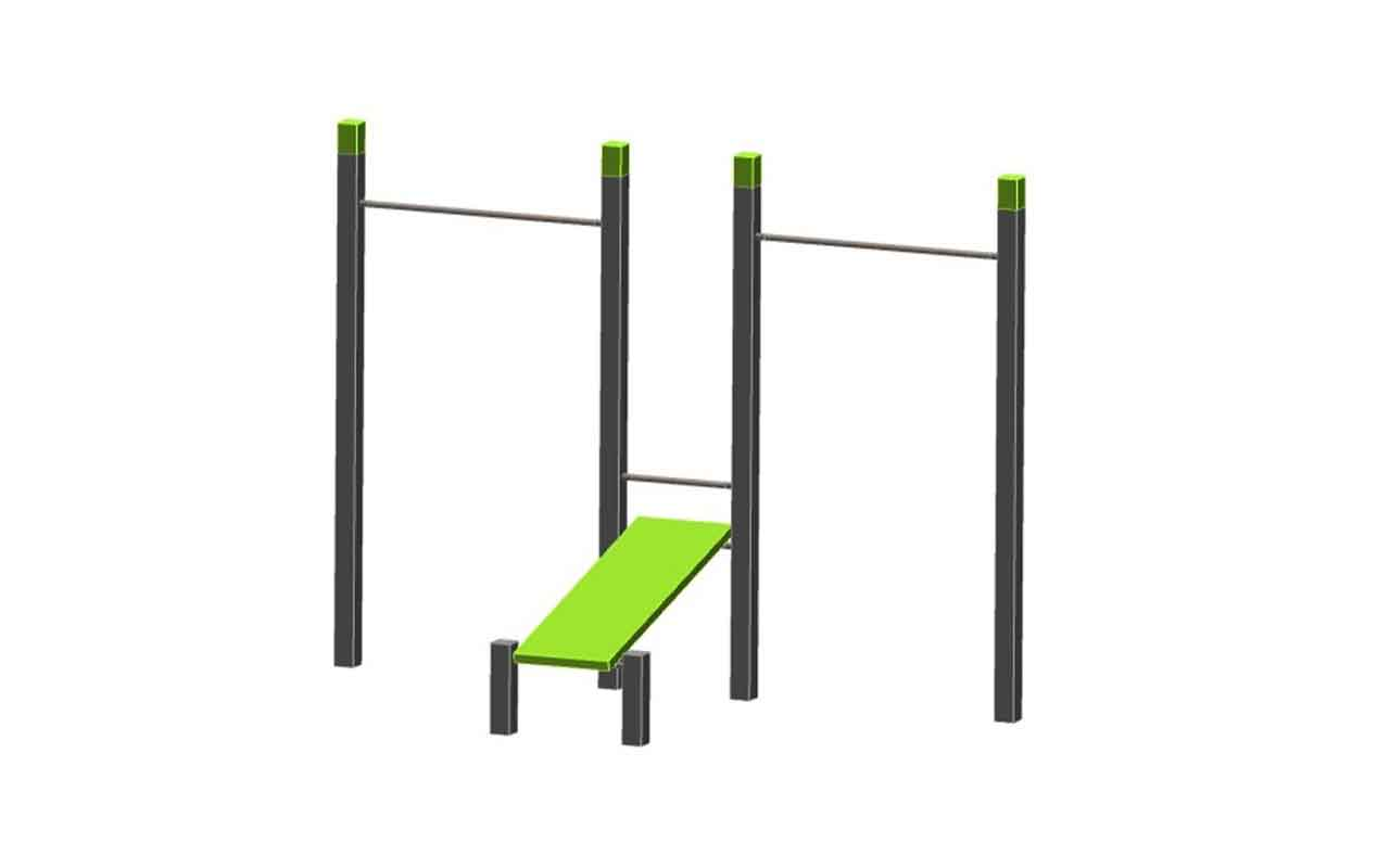DOUBLE PULL UP - BENCH IN THE MIDDLE - DOUBLE PULL UP - BENCH IN THE MIDDLE - Palestra all'Aperto - Palestra all'Aperto