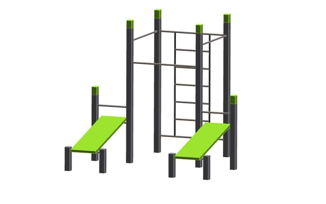 WALL - 3 PULL UPS BARS - 2 BENCHES - Palestra all'Aperto